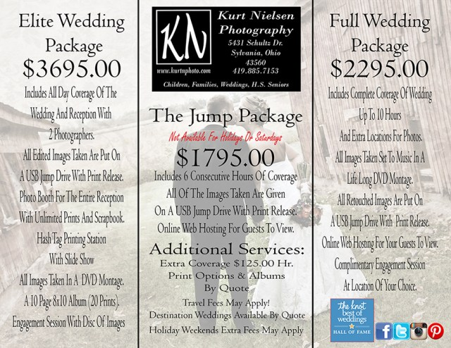 how much does a wedding photographer cost in Toledo