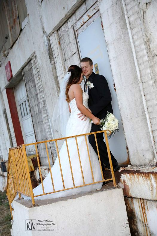 Urban wedding photography in Industrial spaces in downtown Toledo