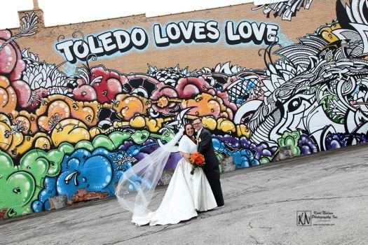 Wedding Photography by Kurt Nielsen Photography at the Toledo Loves Love Mural