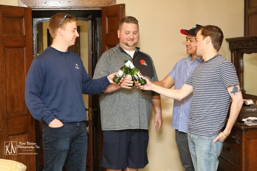 the groomsmen toast before the wedding
