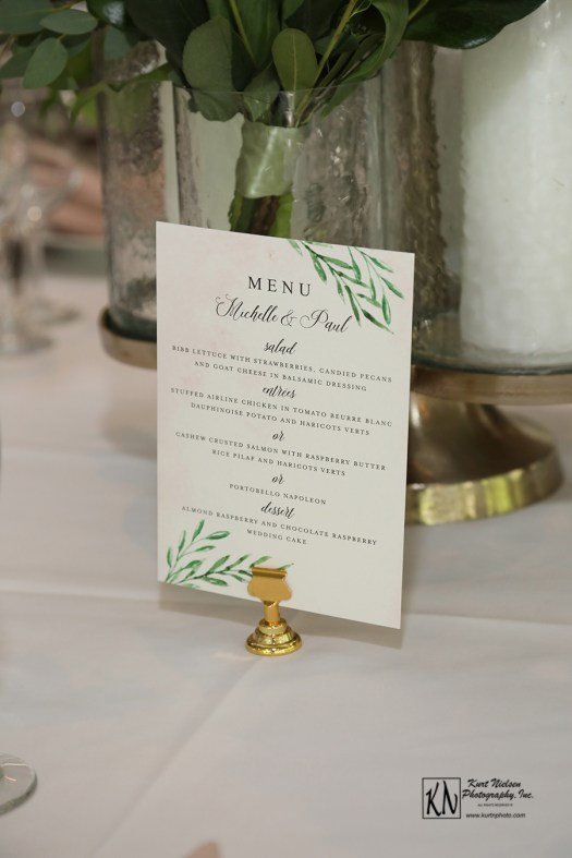 nature themed wedding menu from minted.com