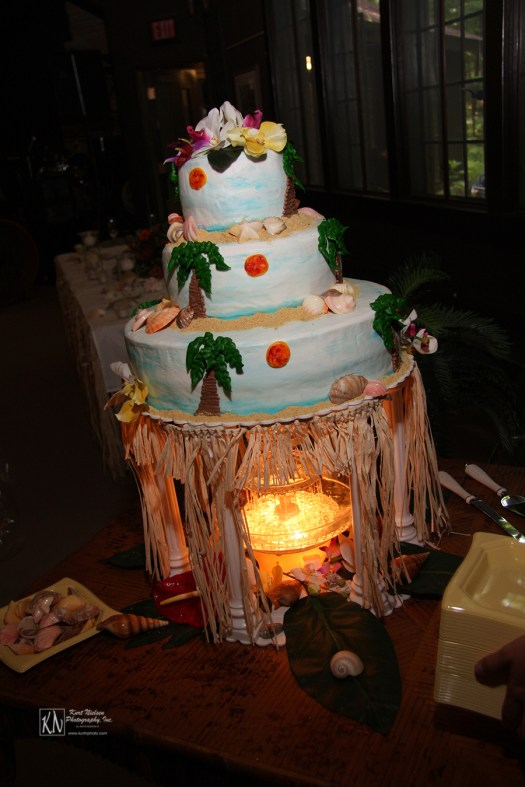 whimsical tropical themed wedding cake