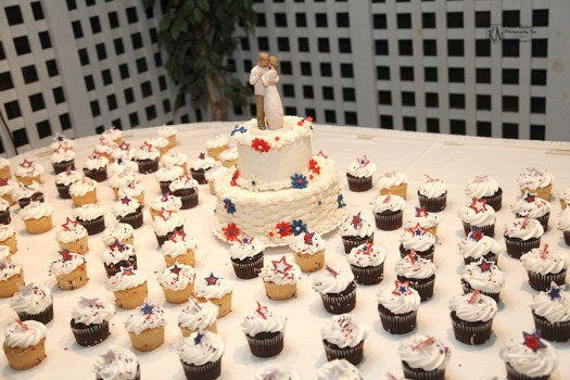 cake and cupcake wedding display