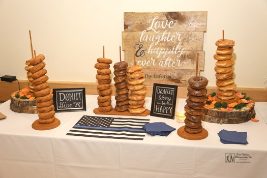 wedding donut display love laughter and happily ever after