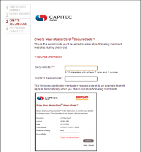 Create your Mastercard SecureCode page 1