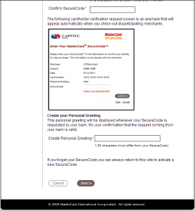 Create your mastercard securecode page 2