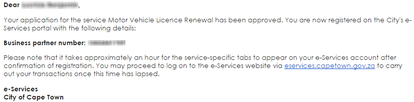 Email approving my application for the Motor Vehicle License Renewal service