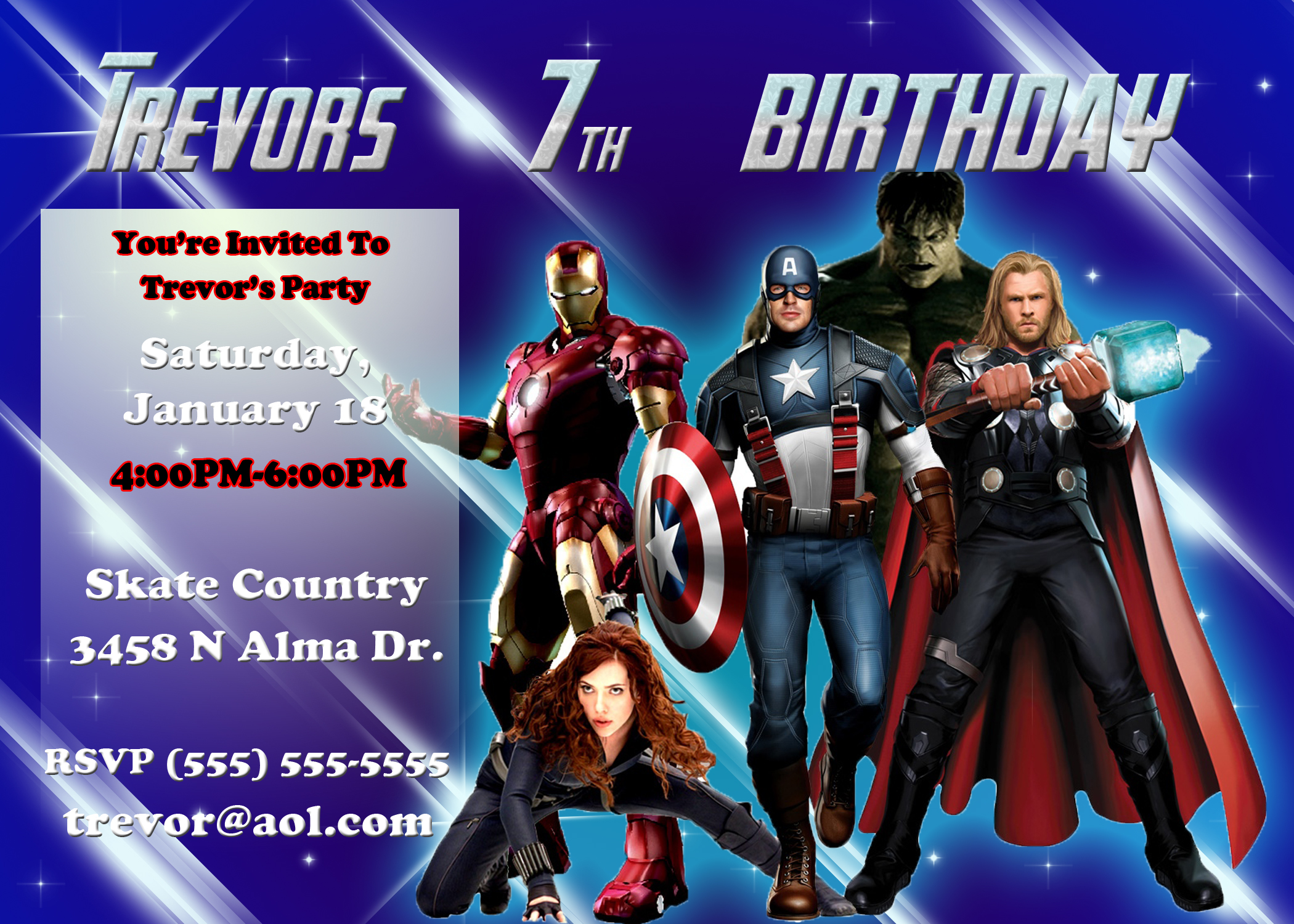 avengers birthday invitation kustom
