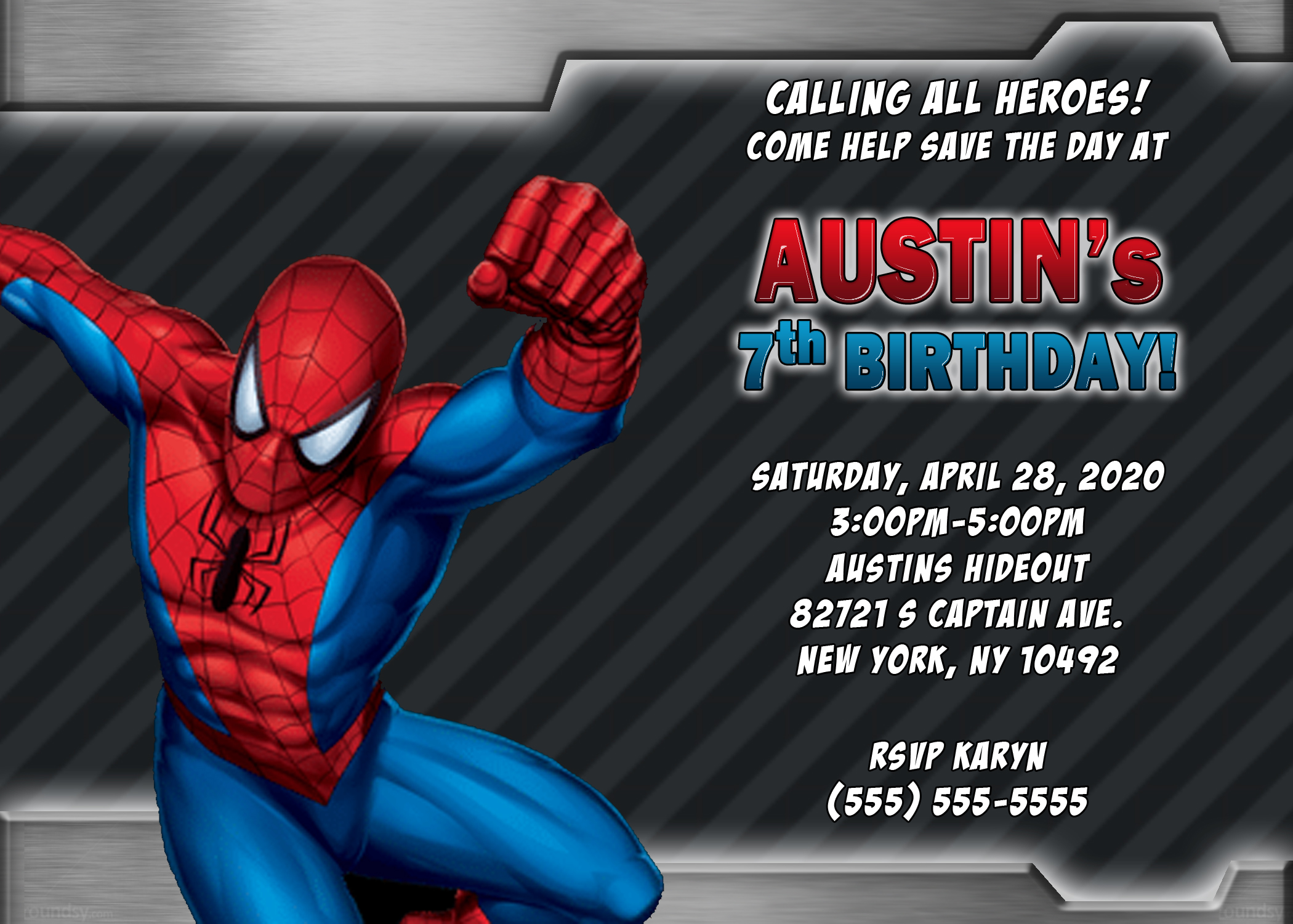 spiderman birthday invitations kustom