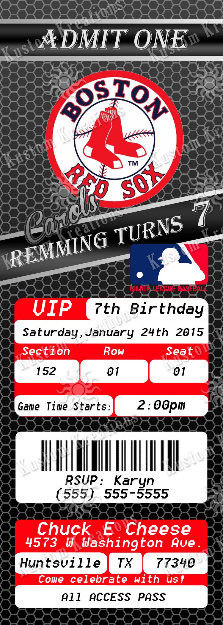 MLB Boston Red Sox Ticket Birthday Invitations Kustom