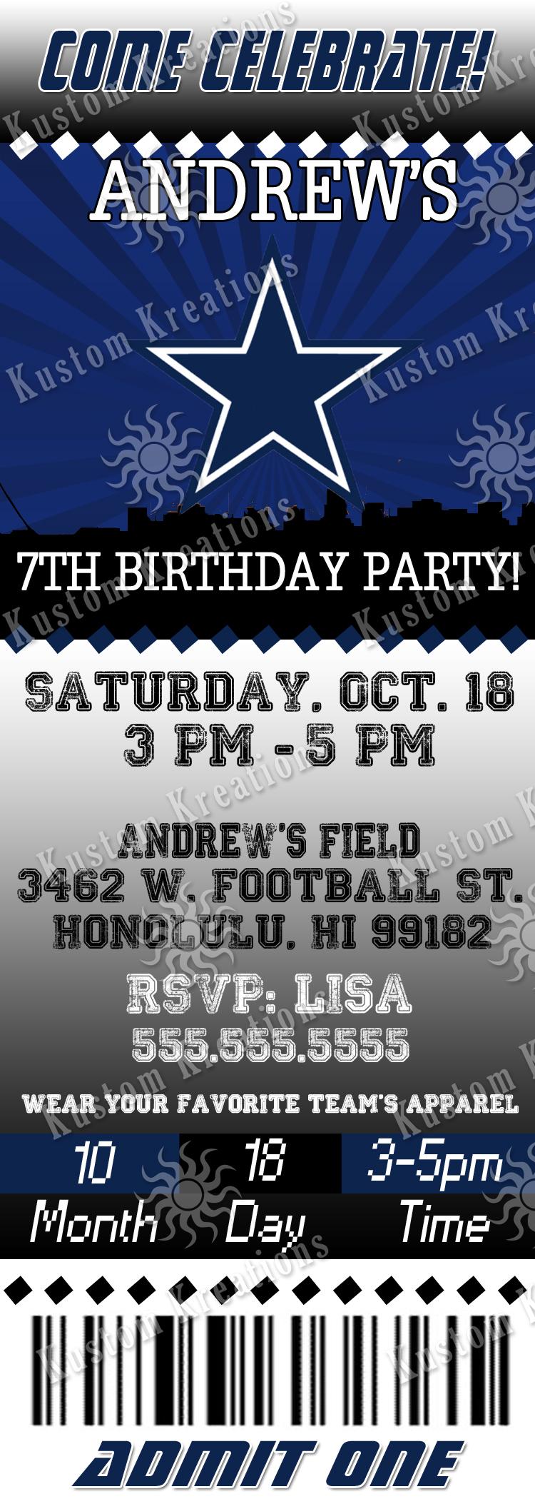 Nfl Dallas Cowboys Ticket Birthday Invitation Kustom Kreations