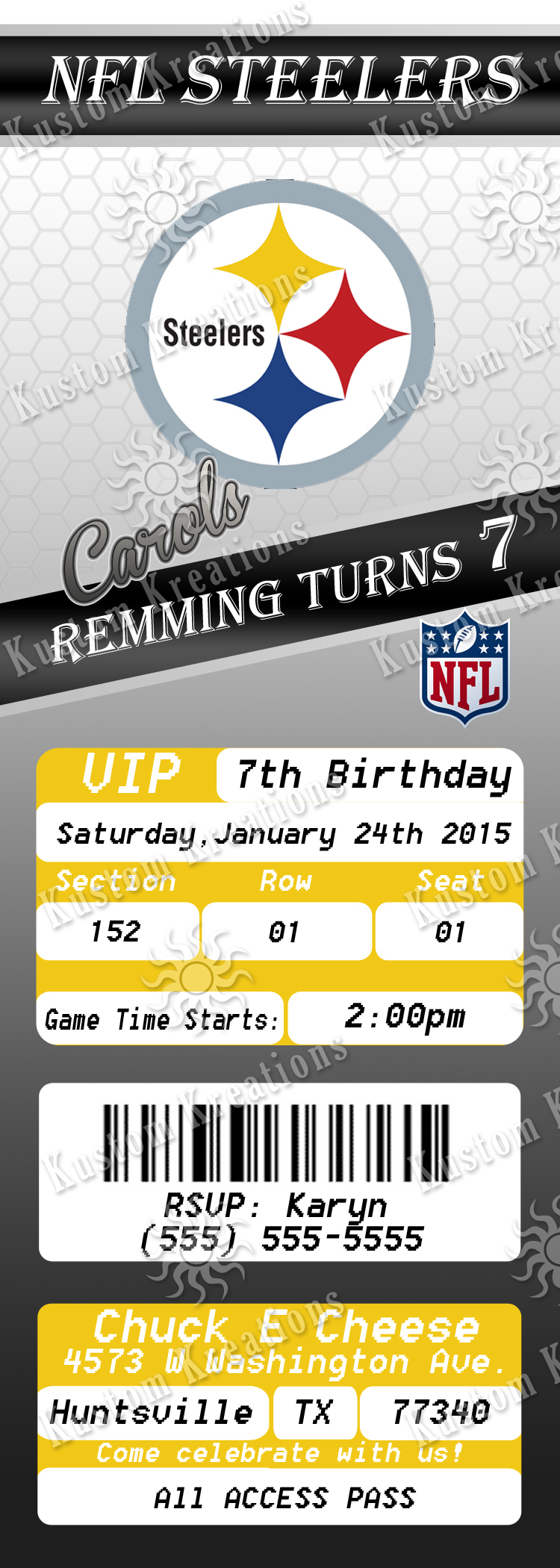 NFL Pittsburgh Steelers Birthday Invitation Kustom