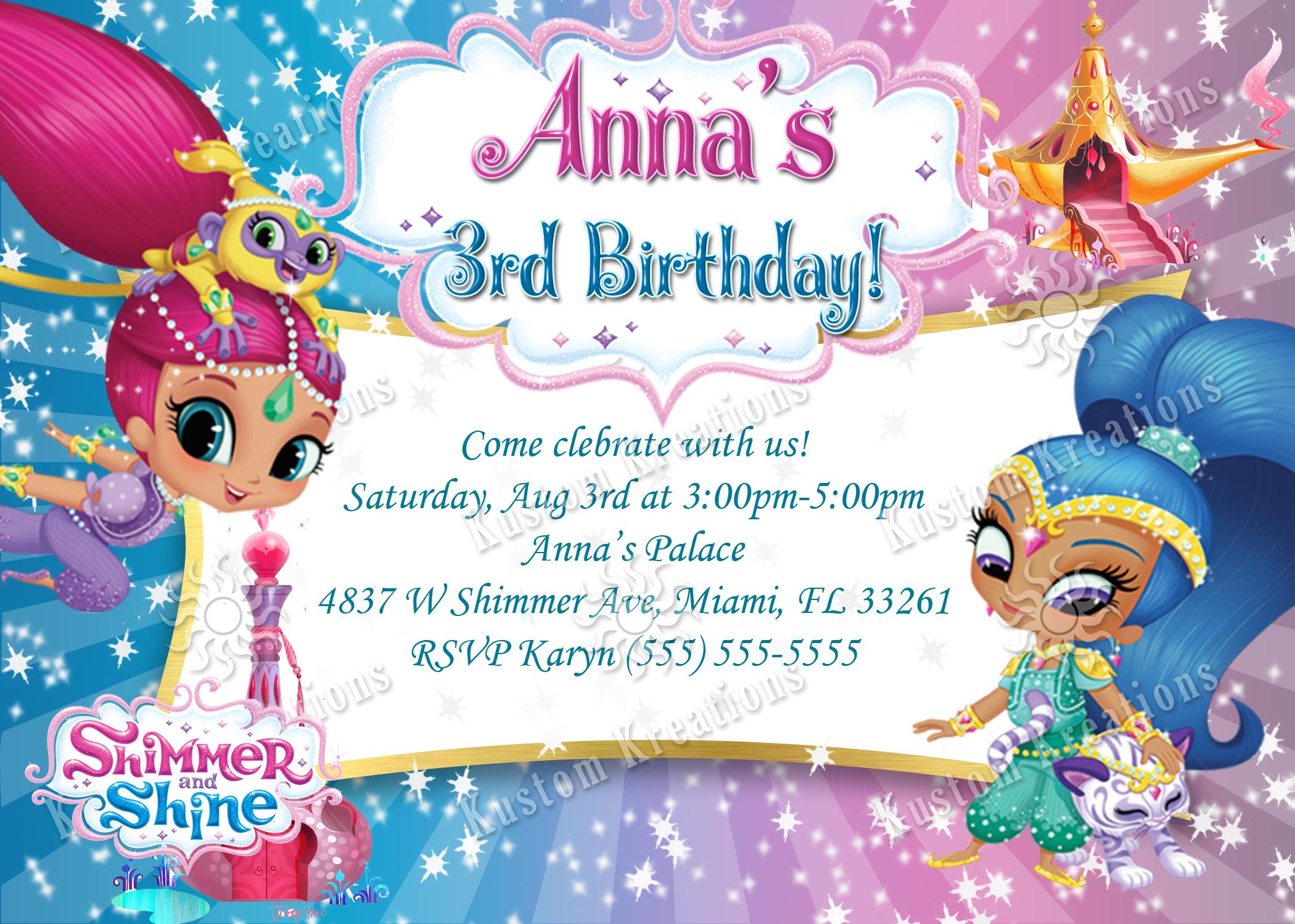 Shimmer And Shine Birthday Invitation Kustom Kreations