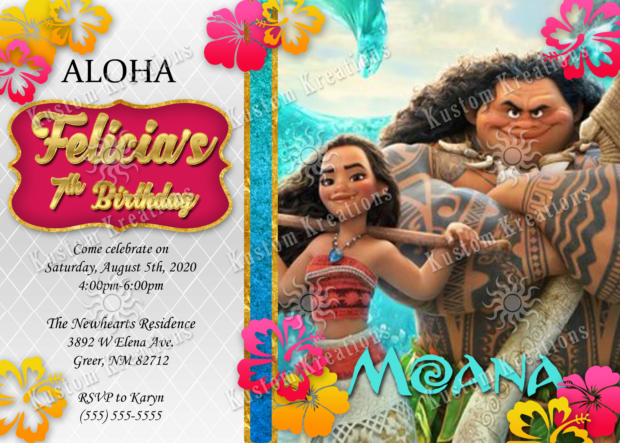 moana birthday invitations kustom