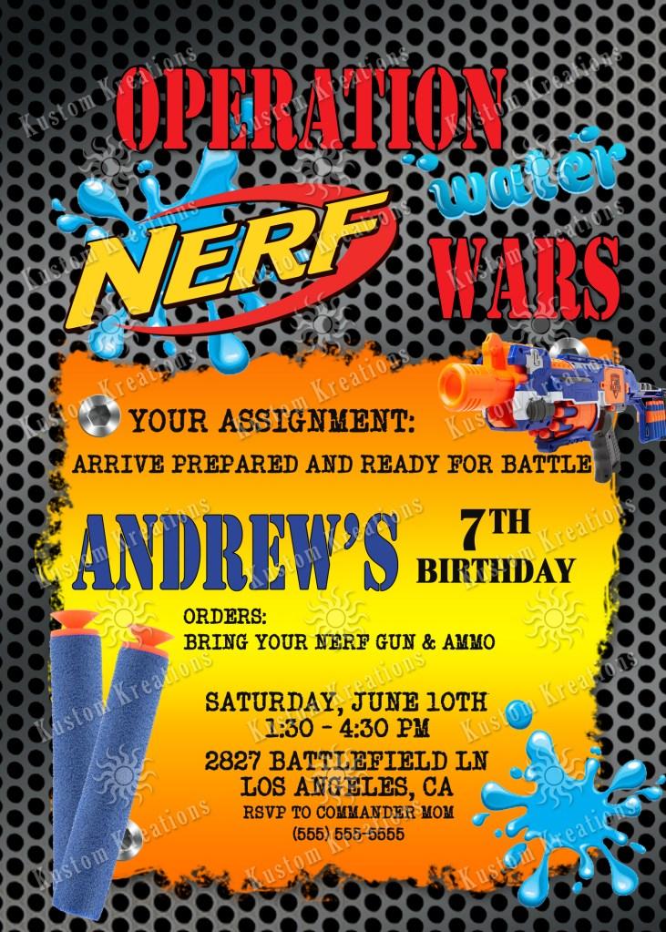 nerf birthday invitations kustom