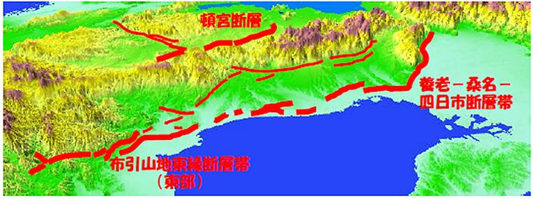 三重県北部の断層図