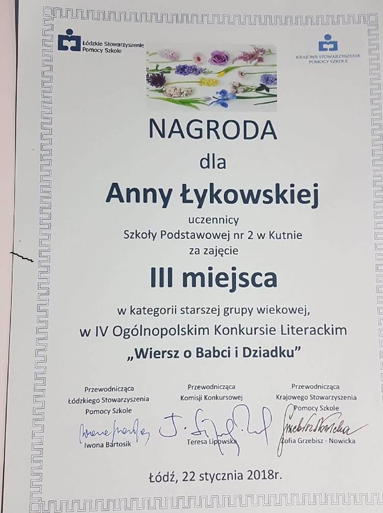 Anna łykowska Z Sp2 Na Gali Laureatów W łodzi Kutno50pl