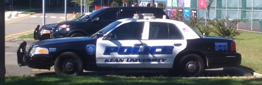 Kean University Police car outside Downs Hall. Photo Credit: Y. Smishkewych
