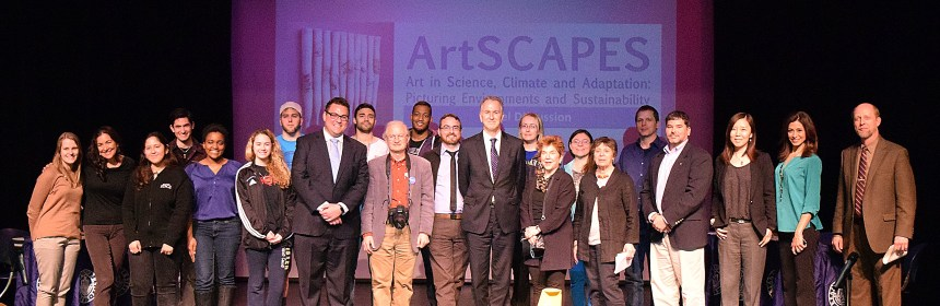 ArtSCAPES panelists, students, faculty and visitors pose for a group photo. Photo: Y. Smishkewych