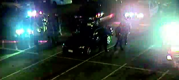 Snapshot of surveillance video showing Obidi Anamdi's arrest on March 1, 2013. Video was obtained through an Open Public Records request.