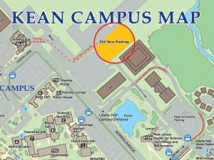 Map with directions to the new parking lot. Credit: Kean University