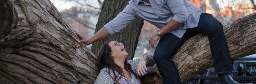 Paige Bollman and Martin Alonso share laughs as they pose for their engagement photos Credit: AD Photography