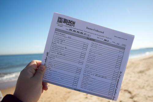 """Volunteers carried an """"items collected"""" sheet to record data during the clean up. Credit: Paige Bollman"""