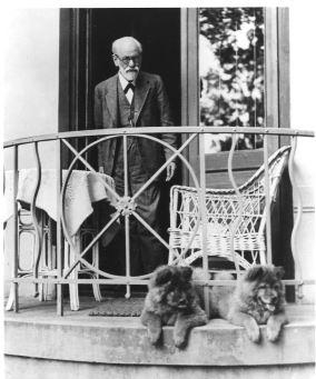 1935 Sigmund Freud a kutyáival az erkélyen
