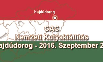 CAC Nemzeti Kutyakiállítás – Hajdúdorog – 2016. Szeptember 25.