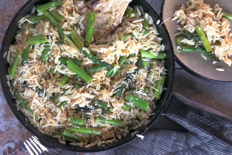 Garlic Butter Asparagus Orzo