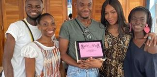 Naomi Campbell with Steve French and others at Radford University. Naomi Campbell