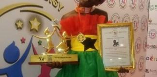 DJ Switch with her Global Child Prodigy Award (DJ Switch Ghana/Facebook)