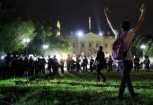 Americans protest in front of the White House