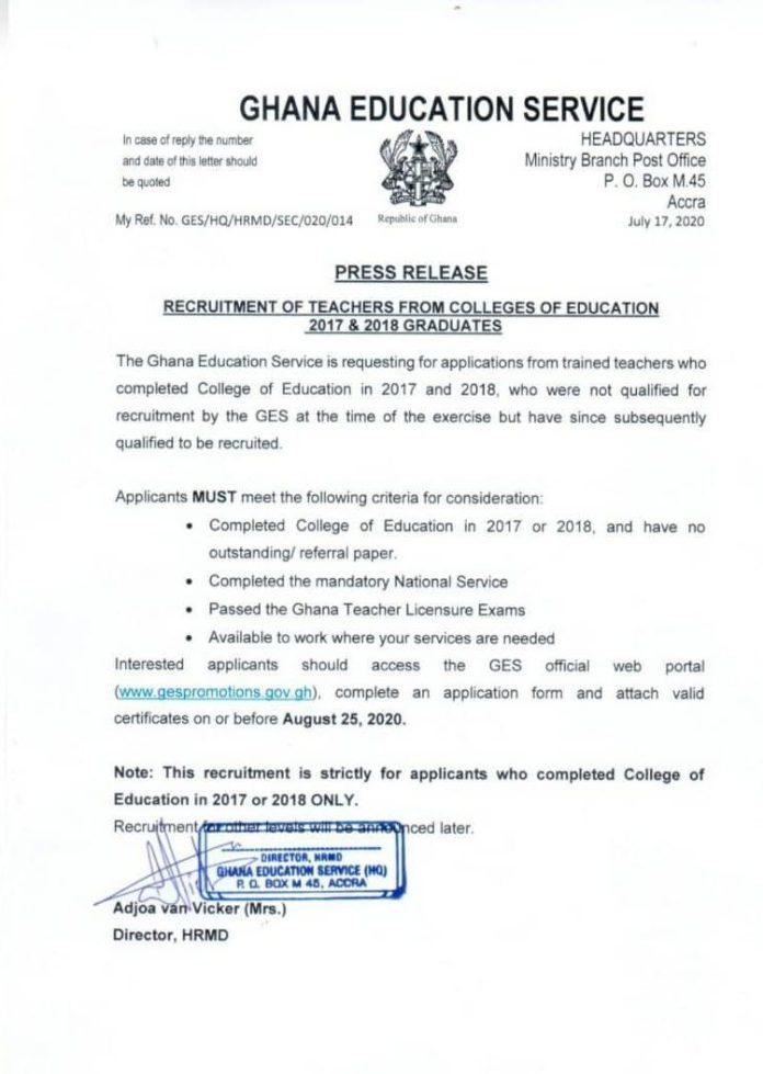 GES begins recruitment of 2017, 2018 College of Education graduates
