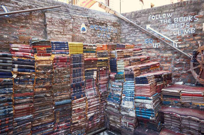 Steps made from old books in Acqua Alta
