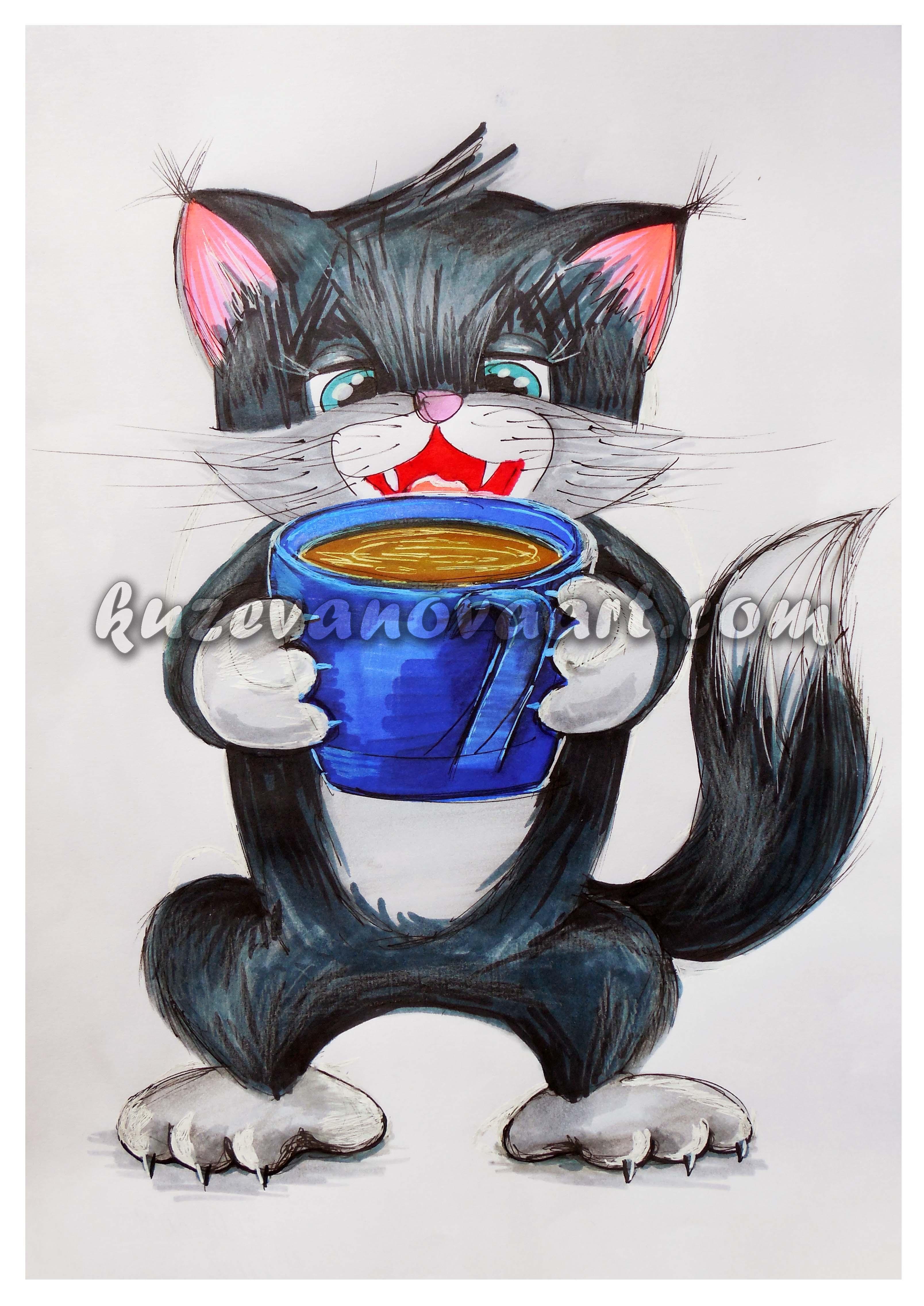 Котик пьёт чай