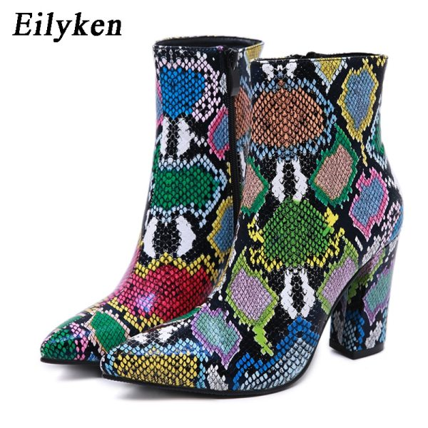 Eilyken 2020 New Women Ankle Boots Fashion Green Snake Grain Booties Winter Female Pointed Toe High Heels Ladies Zip Boots Shoes