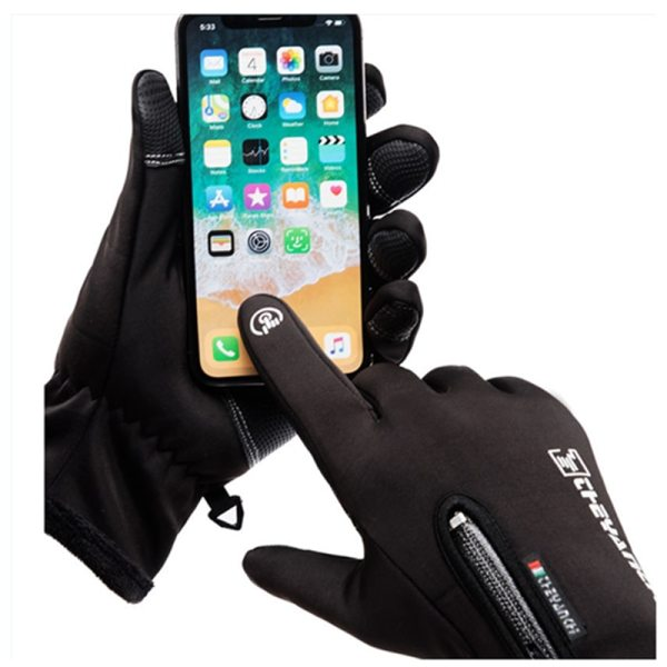 Autumn and winter zipper outdoor sports riding gloves warm windproof waterproof gloves touch screen gloves men and women gloves