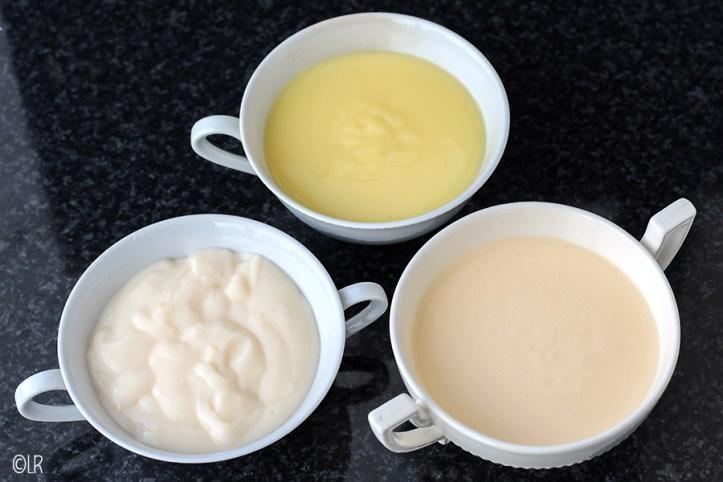 Van links naar rechts: Ouderwetse vanillevla, Custardvla en Crème Anglaise.