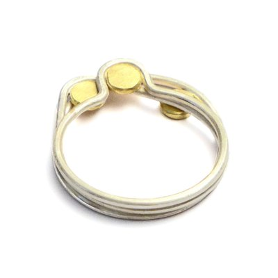 dots stacking rings silver and gold