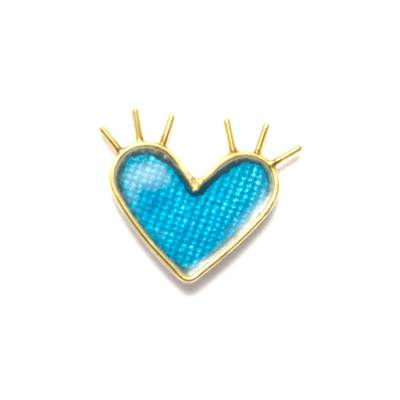 single enamel spiky blue heart earring in the shape of a heart