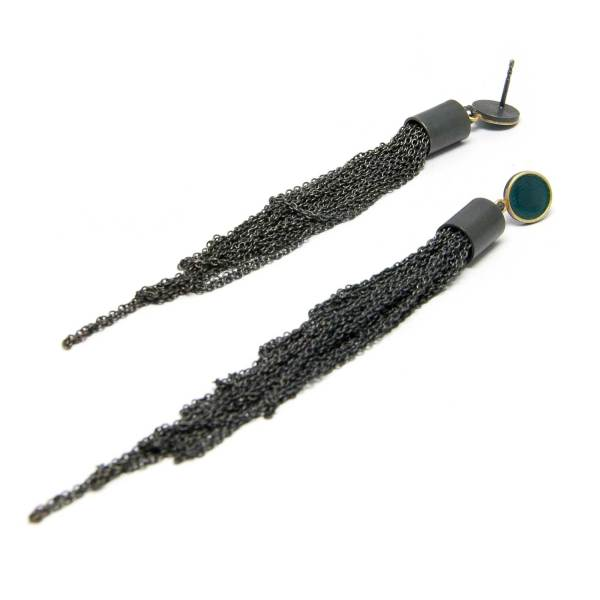 oxidized silver long strand seaweed earrings