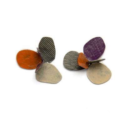 jewelry inspired by nature, colorful botanical violet earrings in oxidized silver and red beige and purple paint