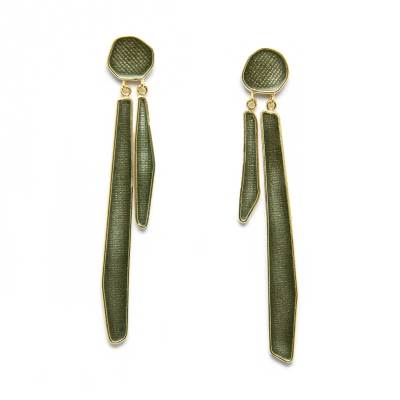 timeless grey enamel earrings