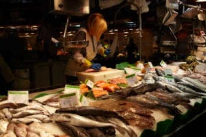 The fish seller in a fish section of the market is cutting a fish with a knife. No visible faces, logos or TM's, quite ready for commercial use.