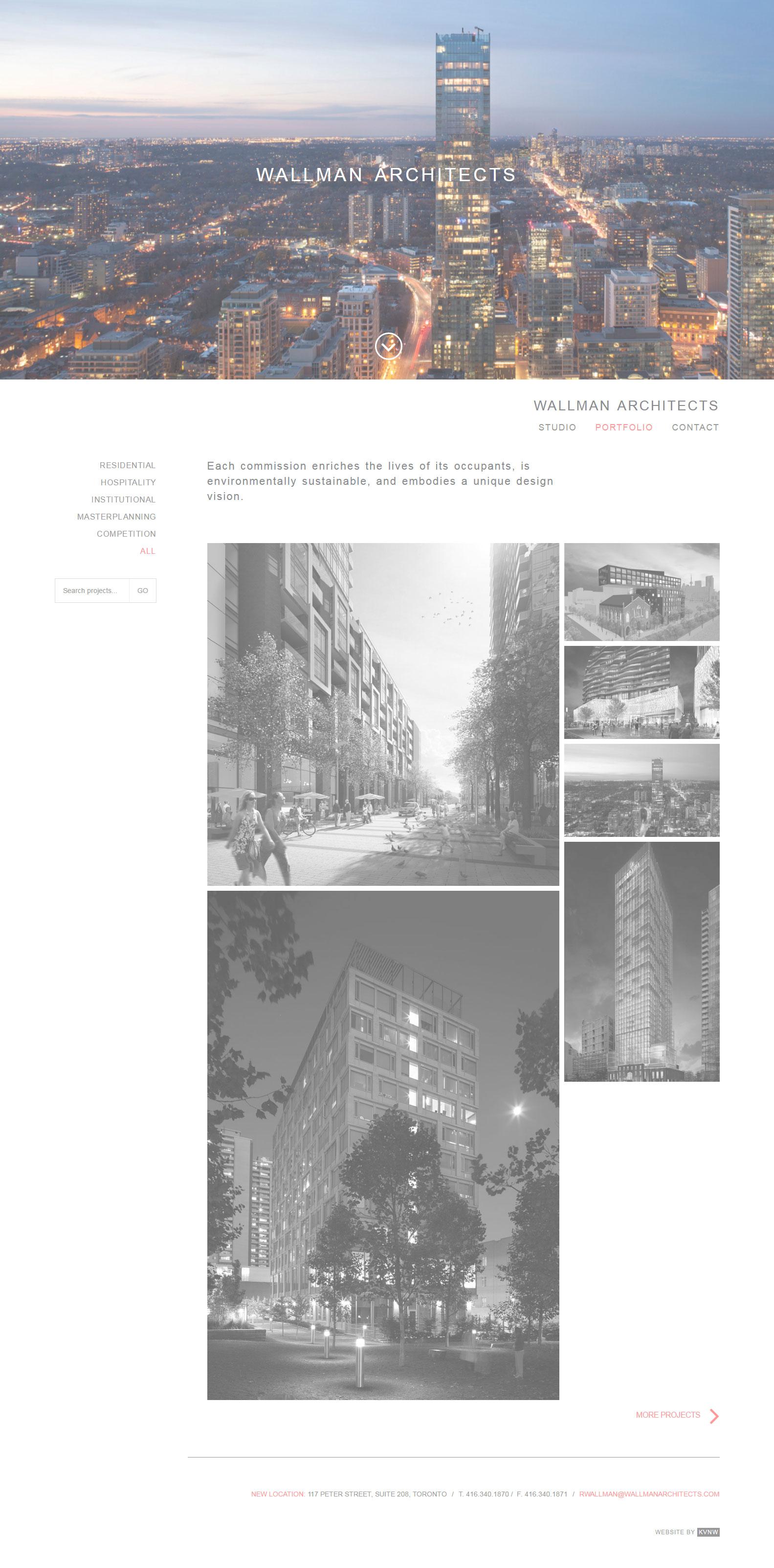 Wallman Architects Website Design Mockup Toronto