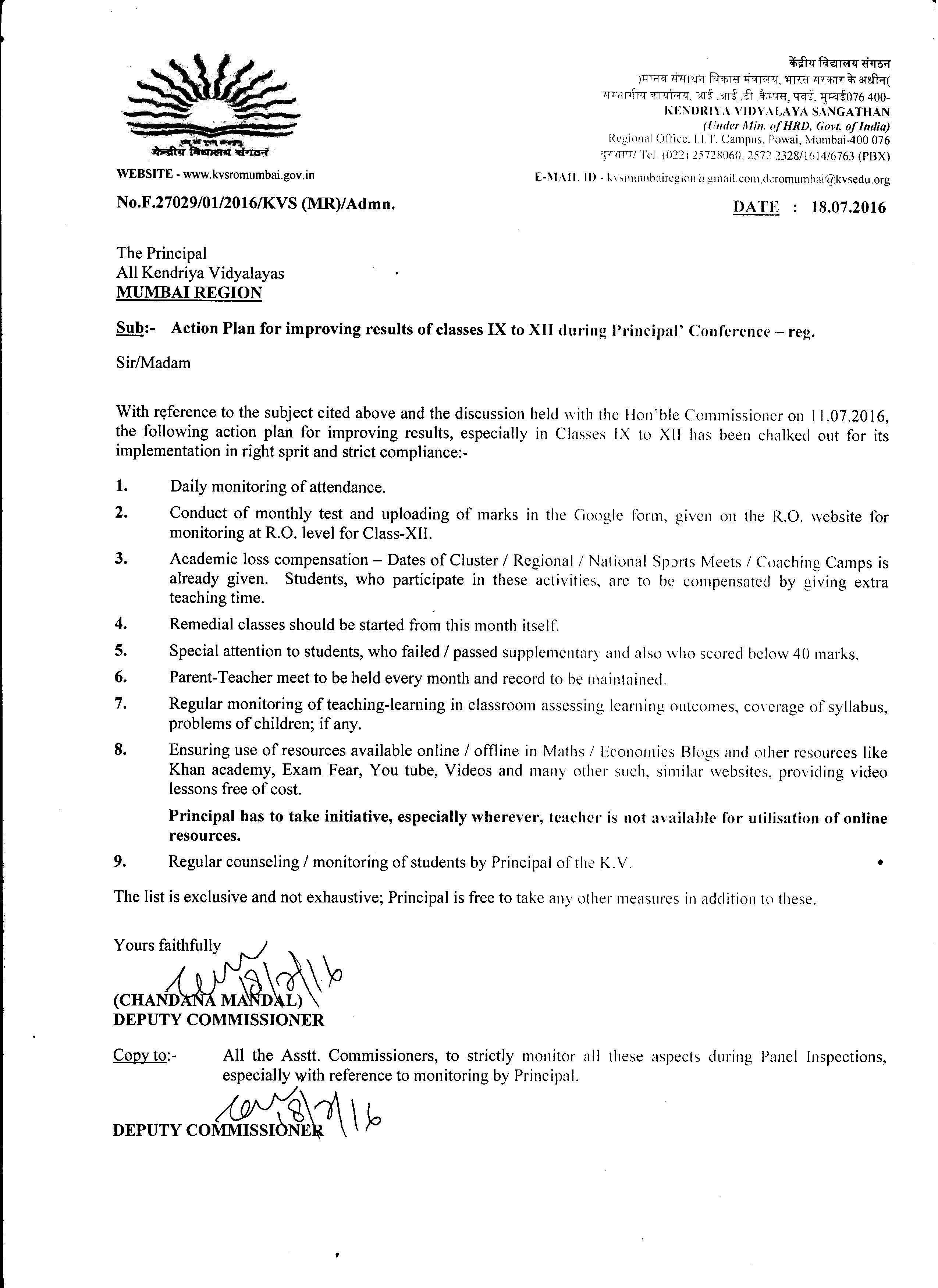 From Deputy Commissioner Office Kvs Mumbai