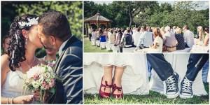 Hochzeitsfotografie Erfurt vintage im Freien Freie Trauung Schuhe Kuss