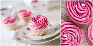 Foodfotografie Erdbeere-Cupcake auf altem Porzellan-Geschirr
