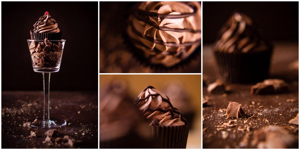 Foodfotografie 4-er- Collage mit Schuko-Cupcake
